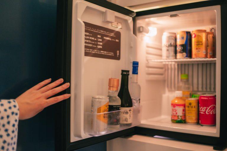 冷蔵庫の中のソフトドリンクやスナックは全て無料で楽しめちゃう。