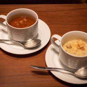 「ビーフシチュー」と「さつま芋ときのこのスープ」。
