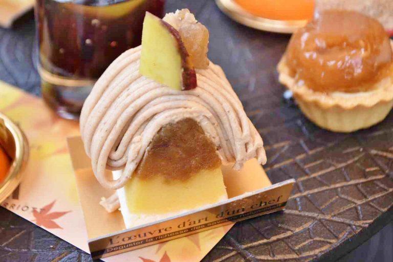 さつま芋がしっとり美味しい「スイートポテトのモンブラン」は、さつま芋とマロングラッセをトッピング。