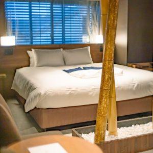 「京銘竹」竹の原材料自体が工芸品認定されているという珍しい竹をしつらえたお部屋。