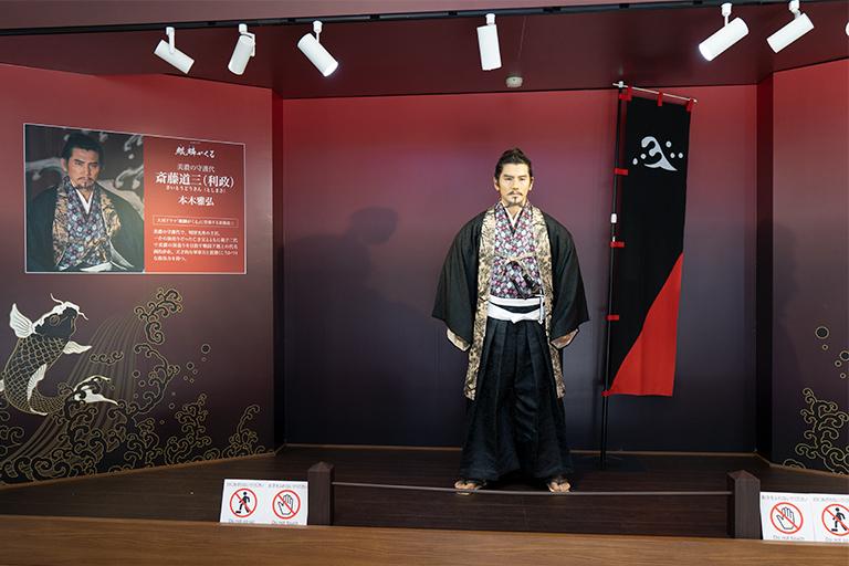 斎藤道三に扮する本木雅弘さんの蝋人形。