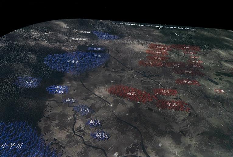 各軍勢の動きを上から見られます。