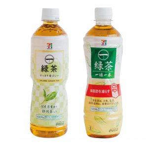 左・一(はじめ)緑茶静岡茶入り(600ml)93円。※一(はじめ)緑茶(600ml)は地域により「静岡茶入り、宇治茶入り、八女茶入り」と発売商品が異なります。右・一(はじめ)緑茶一日一本(500ml)118円。