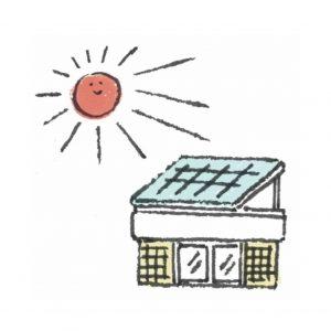 THEME #1:「CO2排出量削減」クリーンなエネルギーを かしこく使おう。 LED照明や太陽光発電パネル、蓄電池を導入。また省エネ・再生可能エネルギー等の活用で、グループの店舗運営でのCO2排出量を2030年までに30%削減(2013年度比)、2050年までに80%以上削減(2013年度比)を目指す。