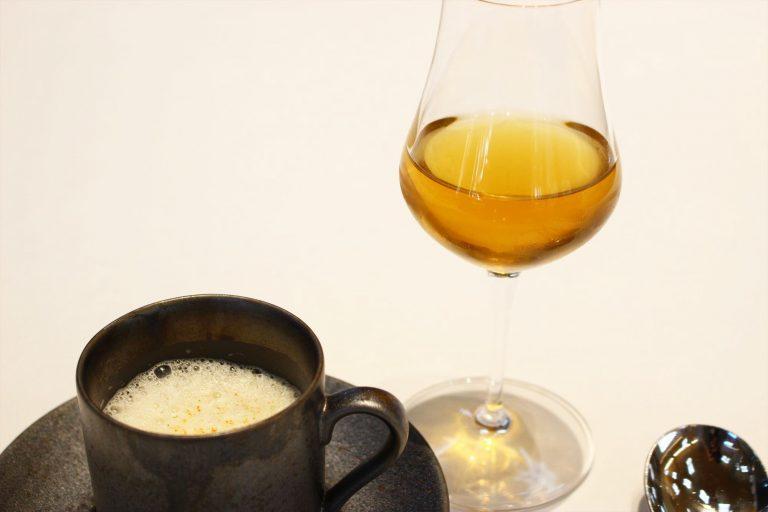 秋の茸を入れたロワイヤル 帆立香るカプチーノ仕立て/Shizuoka Brown 90℃180sec。