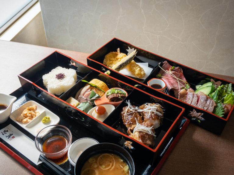 煕子御膳 3,000円。近江牛の肉寿司、ステーキ、ローストビーフを楽しめる。