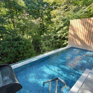 北アルプスの森を一望できる圧巻の露天風呂。