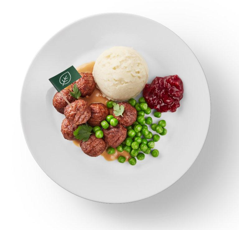 見た目も味も肉そのもの。子どもも大人もおいしく食べることができる。プラントボール500g 699円。