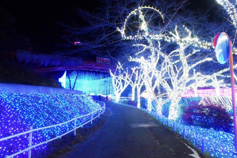 「光のアクアリウム」までの道は、さっきと違い凛としたブルーのイルミネーションに。