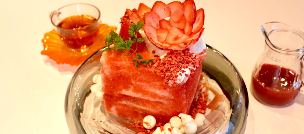 ショートケーキ風のかき氷!月島〈カフェシチリア ザ・パーラー〉がオープン。