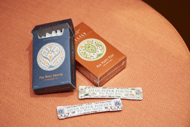 PMSやリフレッシュに。美しいパッケージが人気の理由。「ASIAN SUPER POWDER」。右「MS Pre Party Tint」左「Pre Moon Smooth」各1,880円。