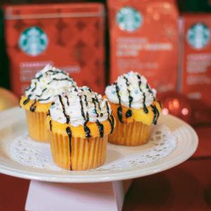 オレンジピールとジンジャースパイスを生地に練り込んだ、見た目も可愛いカップケーキ。