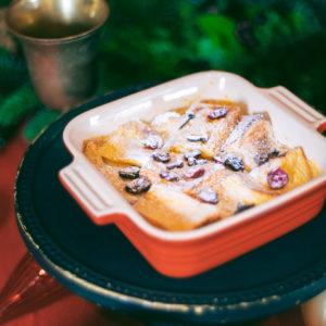 ドライフルーツやスパイスを入れて味に深みのある「パンプディング」を。コーヒーと一緒にいただくことですっきりとした甘みがひきたちます。