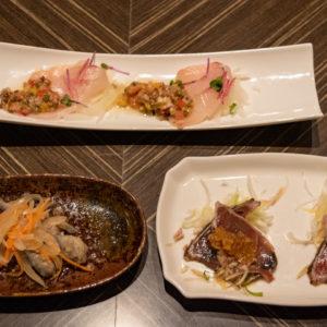 本日の鮮魚のカルパッチョ、豆鯖の南蛮漬け、鰹のたたき。