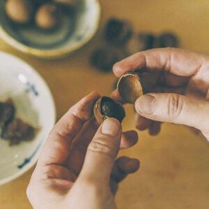 リュウガンも栄養豊富。/ドラゴンの瞳にたとえられる黒い実のリュウガン。ライチに似たような味の果物は、血を養って精神の安定にも役立ち、胃腸にも働きかけるといわれる。