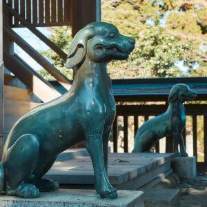 本殿の狛犬もニホンオオカミ。