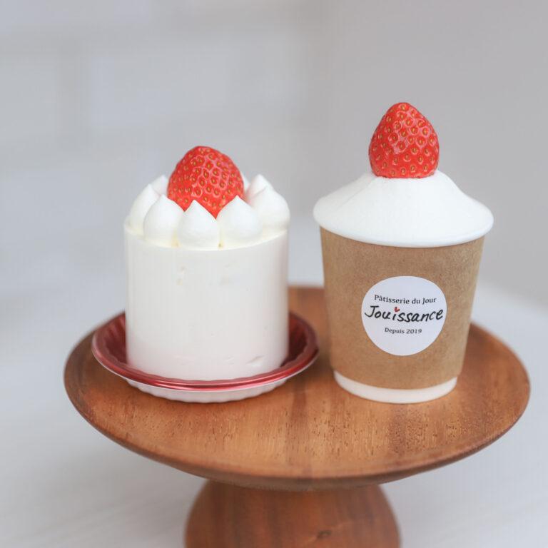 左「ジュイサンスショートケーキ」650円、右「ジュイサンカップショート」600円