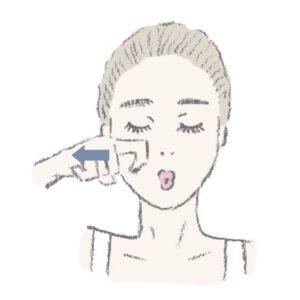 両手を使うのが難しい人は、片側ずつでもOK。これを左右3回以上繰り返して。目の下のシワ&ほうれい線まわりのたるみを改善!