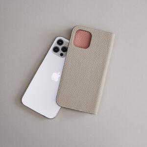 ダイアリーケース iPhone 12/12 Pro グレージュ×コーラル15,000円(BONAVENTURA 050-3204-4803)