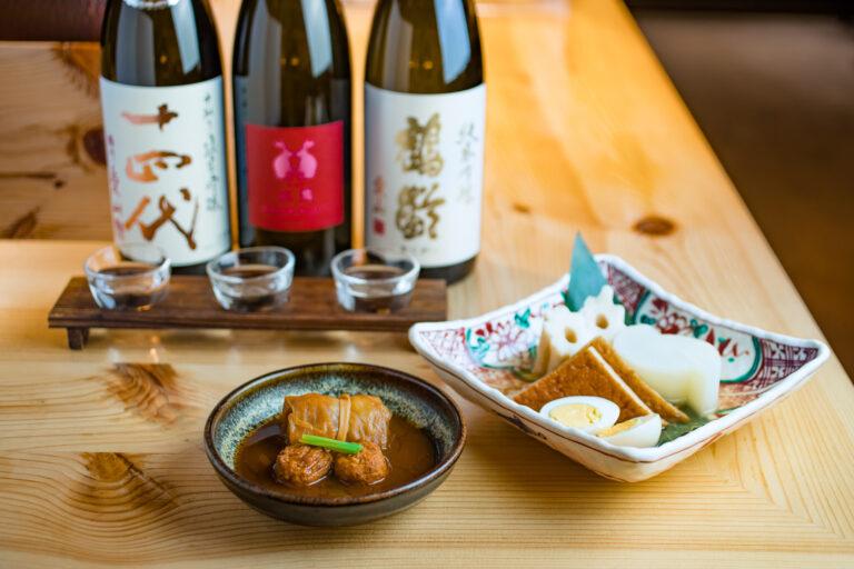 「おでん盛合せ6種」1,672円、「日本酒3種飲み比べセット」1,045円~