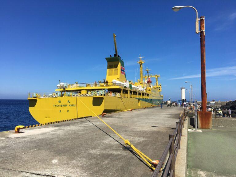 写真は〈三池港〉の接岸の様子です。 ©️三宅島観光協会