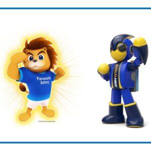 LINEスタンプキャンペーンにも登場するエボルタNEOくん(右)と、海外向けマスコットキャラクター・Panasonic LEO(左)。