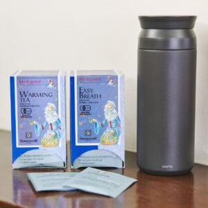 左から〈ゾネントア〉の「あたためるお茶」、「呼吸のお茶」、〈KINTO〉の水筒。