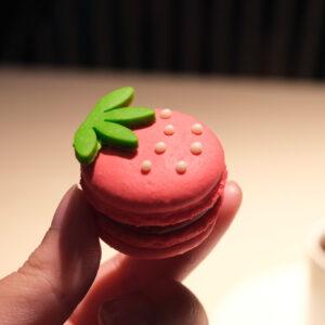 「苺のマカロン」見た目も可愛いらしいマカロンにも、ガナッシュにプロテインが入っている。