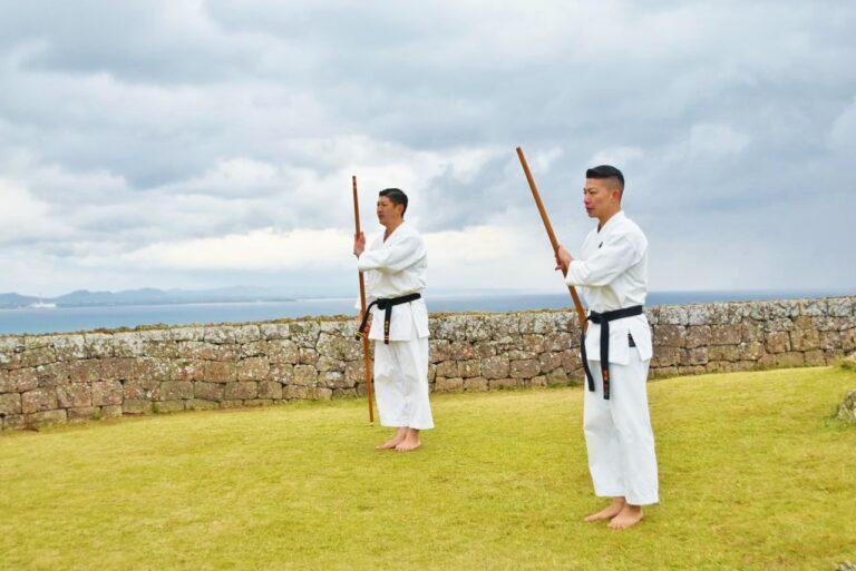 一の曲輪で行われた「沖縄伝統空手演武」を見学。