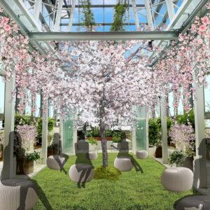 10Fのスカイガーデンには、五感で楽しめるお花見空間が広がる。