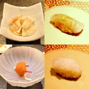 ガリも旬の食材を使った自家製のものを使用。この日はカリフラワーのガリ(写真左上)でした。