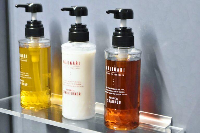 抗菌作用のあるボタニカルエキスやハーブが入ったシャンプーなども設置。