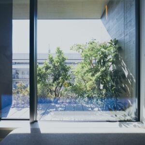 緑をダイレクトに感じて。小上がりのベンチソファから窓越しに緑を眺められる「ダブルルーム」。部屋タイプは約10種あり、目的に応じて選びたい。
