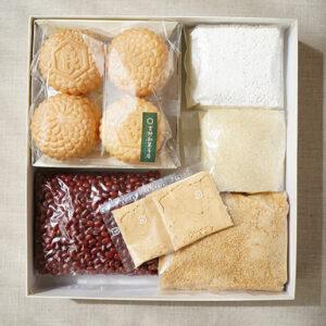 「手作りあんこセット(大)」(1,998円)には、小豆、てんさい糖、道明寺粉、白玉粉、もなか、きな粉が入っています。