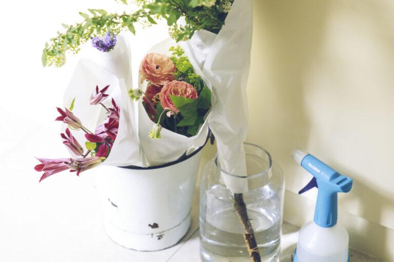 【step1】まず水揚げをする。水揚げは、花が長持ちするように水を吸い上げやすい状態にしてあげること。暑い季節や持ち歩き時間が長いと花も水分不足に。帰宅後は、すぐに水揚げを。