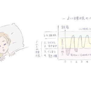 ノンレム睡眠からスタートして、約90分周期で「体の眠り」と「脳の眠り」をリズミカルに繰り返しながら目覚めに向かっていくのが良質な睡眠の条件。