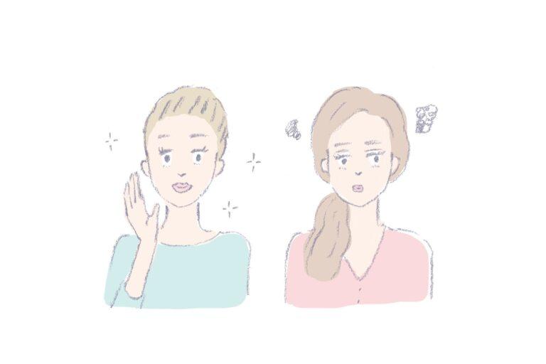 卵胞期(左)は体調も気分も絶好調。一方、黄体期(右)は気分が落ち込みやすい。2つの女性ホルモンが約28 日周期で増減を繰り返す。