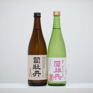 高知県高岡郡の歴史ある酒蔵「司牡丹酒造」による数量限定の裏バージョン(右)。4種のお米を使い、気温が高い時に仕込んでいるため酸が強め。表となる純米酒(左)には、永田農法による高知県四万十産米を使用。