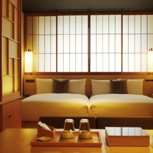 3名宿泊の場合は、畳スペースに布団を敷いて宿泊することも可能。