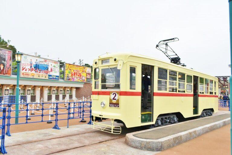 ゲート前では「長崎電気軌道」から譲渡されたという路面電車がお出迎え。