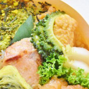 かぶの中華炒め、鮭の西京焼き、ゴーヤ炒め。