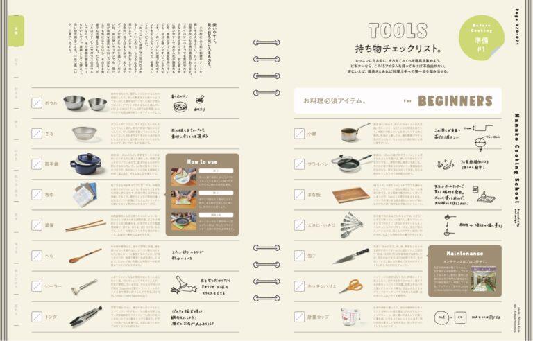 料理レッスンの前に、まずはこのチェックリストを参考に道具集めから。ビギナーにはこの15アイテムがおすすめ。