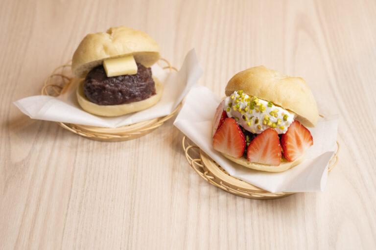 米粉を使った進化系どらやき「どらぱん」。右から、いちごピスタチオ540円、あんバター486円。