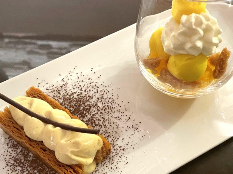 食後のデザートも。最後までたっぷり〈ピエール・エルメ・パリ〉の味を楽しめる。