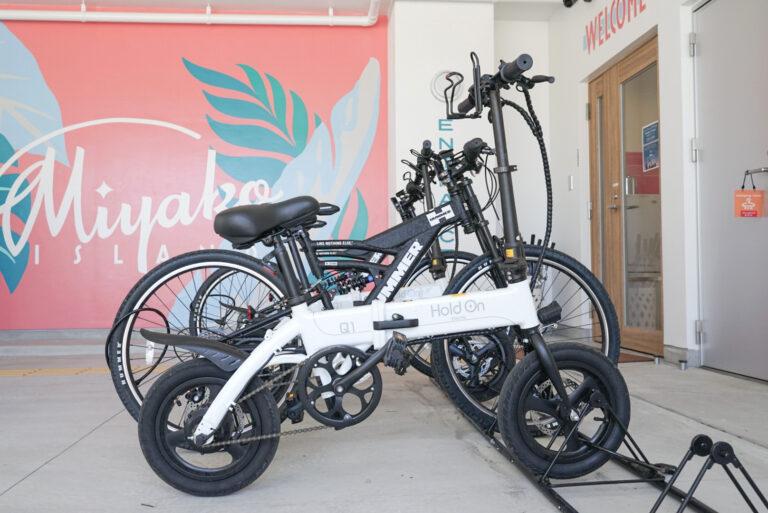 レンタサイクルも。マウンテンバイク 半日:500円、1日:1,000円、電動自転車 半日:1,000円、1日:2,000円。