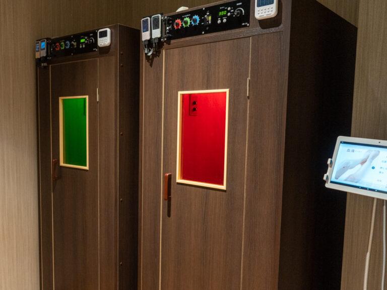 経絡結果に合わせて色も変えられる「遠赤ヒートBOX」。