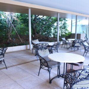 木々のせせらぎを聞きながら優雅なティータイムが過ごせるテラス席。