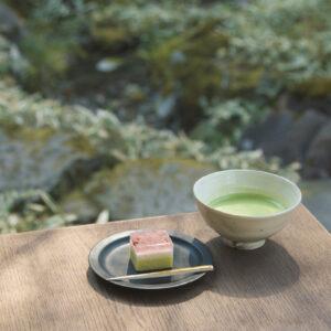 〈かふぇ楊梅亭〉は施設内の滑川沿いに立っている。植物を愛で、風を感じながら抹茶と季節の生菓子1,100円を楽しめる、爽やかでゆったりとした時間だ。