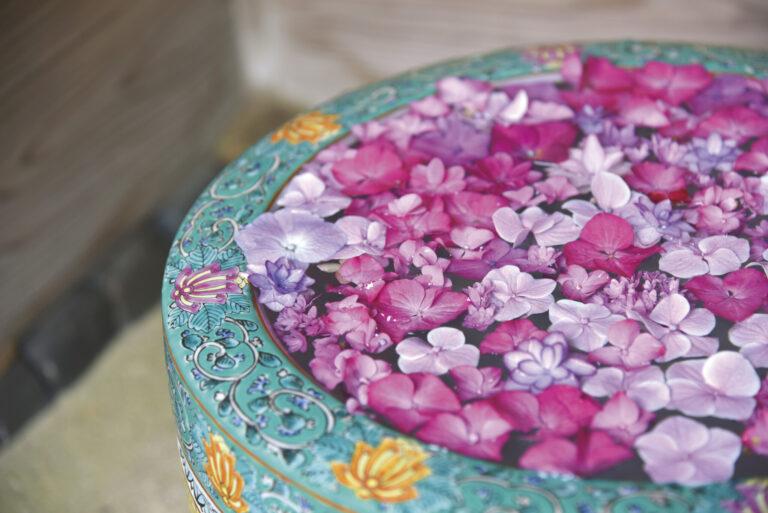 開園から4年が経ち、いま人気なのは紫陽花や紅葉など季節の植物で美しく彩った「花手水」。自然を味わう工夫だ。