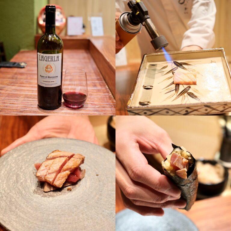 (写真左上から時計回りで)イタリア・トスカーナの赤ワイン「Rosso Di Montalcino La Gerla」、マグロを炙っている様子、「マグロ巻き」、炙った大トロを寝かせている様子。